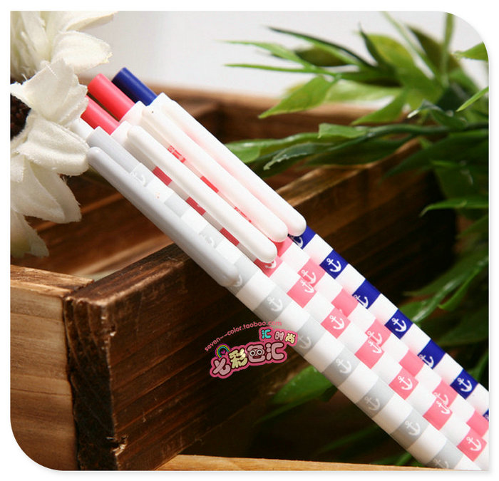 5pcs small order wholesale Seven multicolour chenguang stationery marine wind series oil ballpoint blue 0.38 pen(China (Mainland))