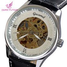 Dropship marca famosa Gucamel ganador genuino de moda de cuero mano caja de acero auto viento hombres reloj mecánico automático
