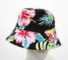 Free Shipping 2016 Black Colorful Floral Print Bucket Hats Floral Fishing Caps For Women/Ladies/Mens(China (Mainland))