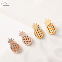 New Arrival Gold Silver Tiny Pineapple Stud Earrings Tendy Stainless Steel Earrings Fashion Sport Jewelry For Women Girl Gifts(China (Mainland))