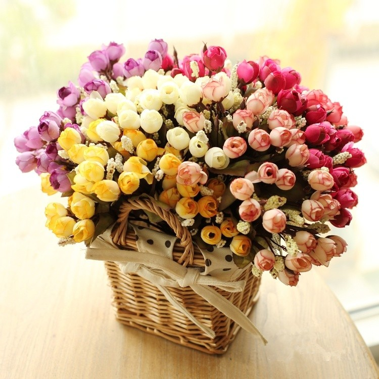 Colorful Silk Flowers artificial flower 15 heads Mini Rose Home Decor for wedding small roses bouquet decoration (1)