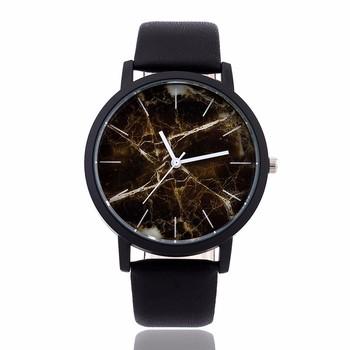 New Fashion Women Watch Personality Marbling Dial Leather Casual Watch Women Men High Quality Wristwatch Clock relogio masculino
