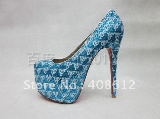 Sky Blue Party Shoes Glitter Bridal Shoes 16cm Thin Heels Red Sole Dancing Shoes Size 35 41 Free