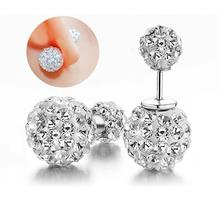 Fashion Sterling Silver Jewelry Shamballa Earrings Crystal Disco Ball Stud Earrings Vintage Fine Jewelry for Women Gift(China (Mainland))