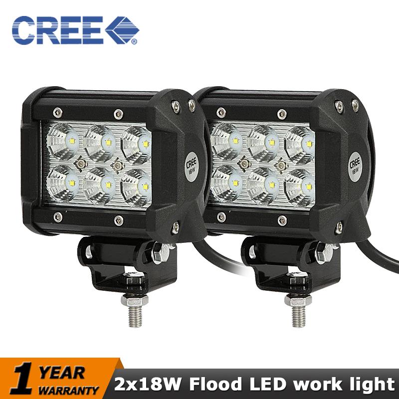 2x Cree led Work light 18W Flood Beam 4x4 12V 24V AWD SUV Camper Driving lamp ATV 4WD Vehicle UTV Van Wagon Car Off-road bar(China (Mainland))