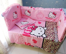 Promotion! 6PCS Hello Kitty Baby Crib Bedding Sets Baby Nursery Cot Kit set  (bumper+sheet+pillow cover)