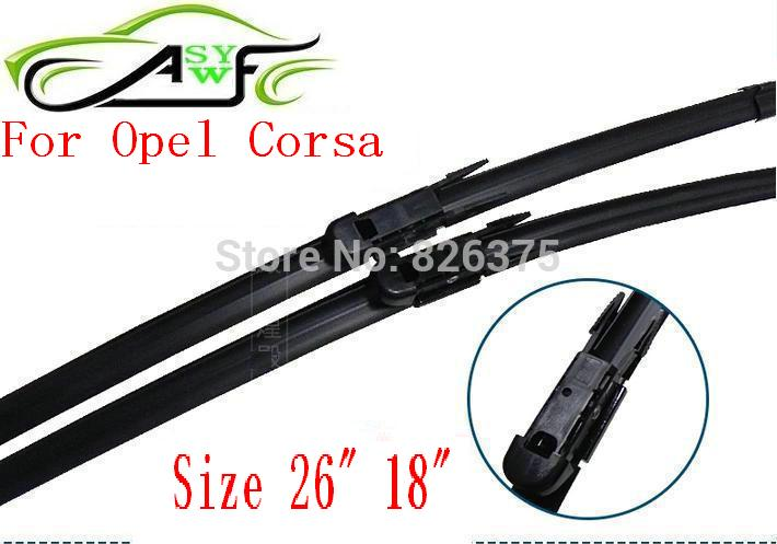 "Free shipping car wiper blade for Opel Corsa Size 26"" 18"" Soft Rubber WindShield Wiper Blade 2pcs/PAIR deflector window(China (Mainland))"