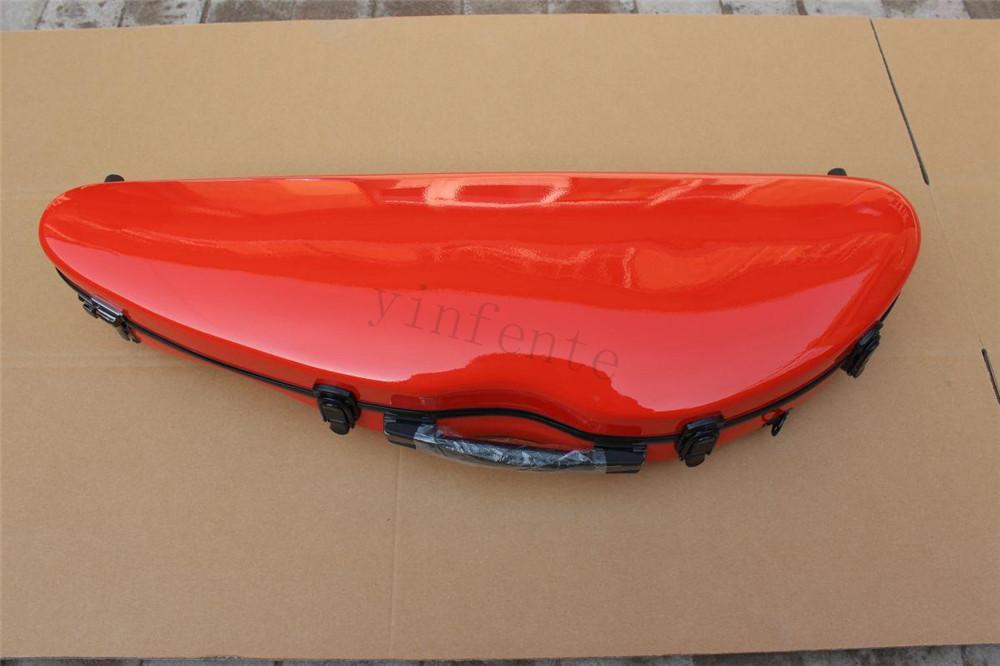 new orange red  color    4/4 Violin case Glass Fiber Soft Imitate Leather Pink White Black #GF0014