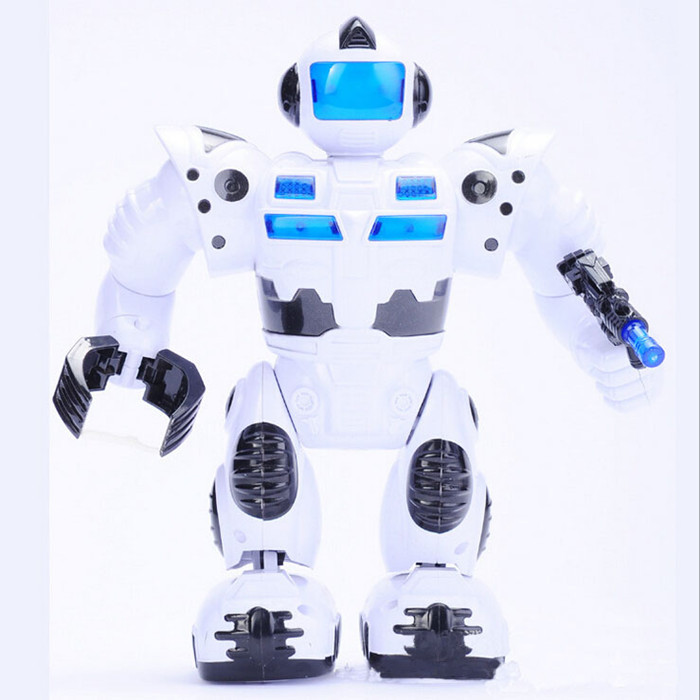 30CM New Hot Sale Children Electronic Toys  Kids Super Robot Soldier White Toys Figures Lights Sound Walking Robot Toys(China (Mainland))