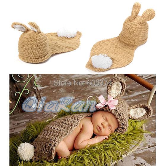 Новый милый ребенок шапка шляпа кролик шляпа и кабо-костюмов комплект мальчик в девочке новорожденных пасхи крючком фото реквизит наряд