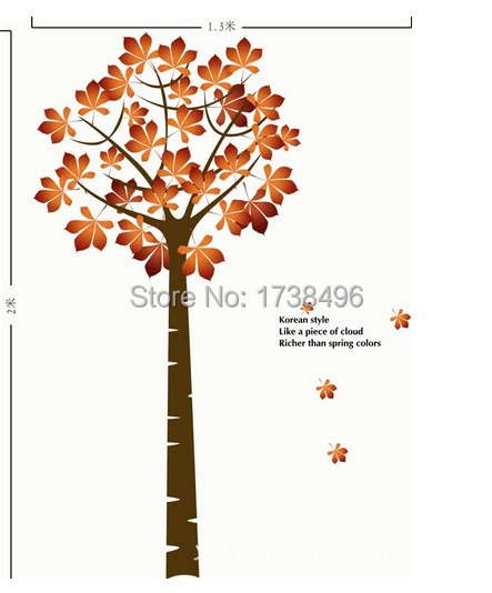 AY202 Free shipping new arrival 60*90cm*2PCS Hot sale removable Autumn Maple Tree wall sticker DIY home wall decoration(China (Mainland))