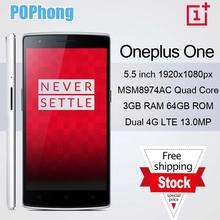 Glass Film Gift ! Original Oneplus One Plus One 4G Snapdragon 801 Quad Core 2.5GHz 3GB RAM 64GB ROM CM11 5.5'' 1920*1080P 13MP(China (Mainland))