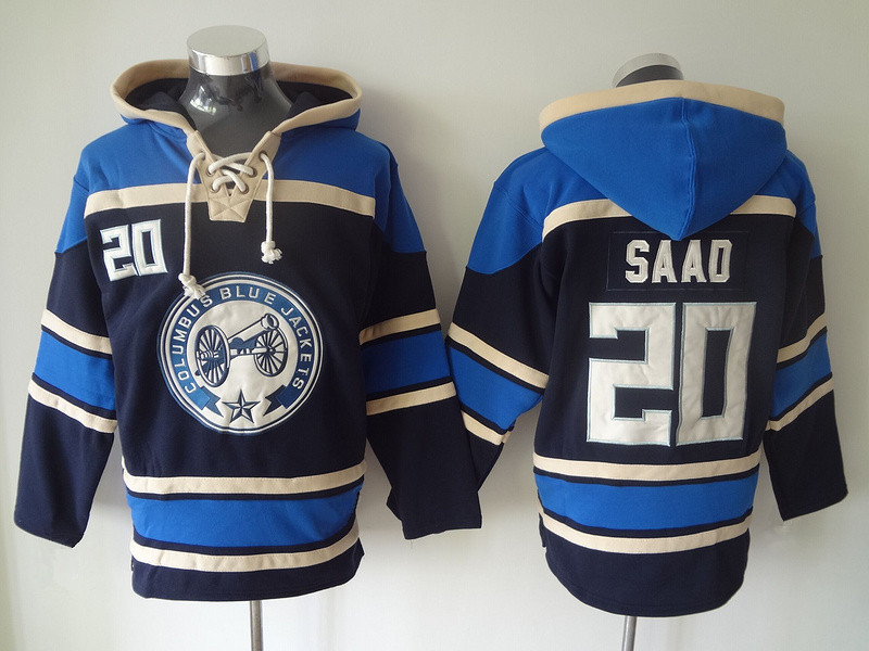 2015 New Newest 20 Brandon Saad Hoody Columbus Blue Jackets Ice Hockey Hooded Old Time Team Color Navy Blue Pullover Sweatshirt