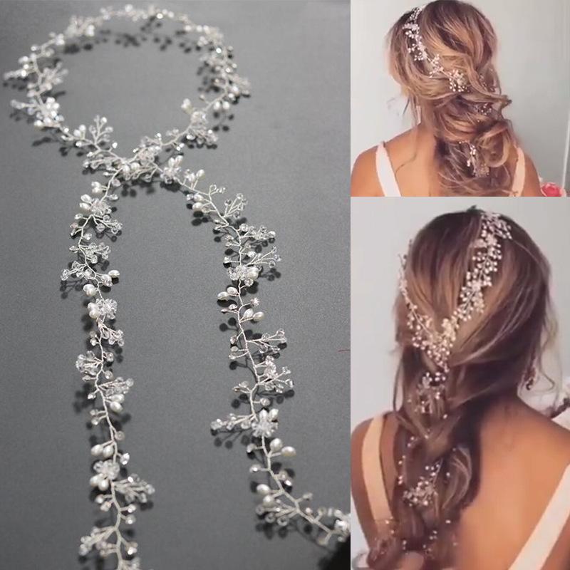 Long Tiara Bridal Headbands Wedding Headpiece Pearl Jewelry Women Hair Accessories White Crystal Beads Hair Accessory(China (Mainland))