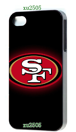 2014 new arrival HOT new design 1pcs San Frcases 49ers luxury Black hard case cover for iphone4 4s + free shipping(China (Mainland))