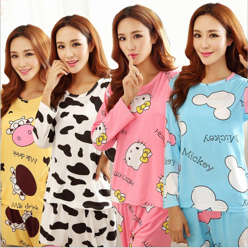 Возраст сезон женщины длинный рукав пижаму многие комикс kt cat молоко шелк пижамы отдыха костюм брюки