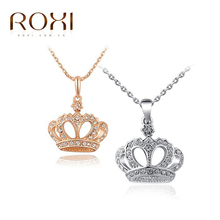 ROXI Gift Classic Crown Pendant Necklace Rose Gold platinum Plated 100 hand Made Fashion Women Jewelry