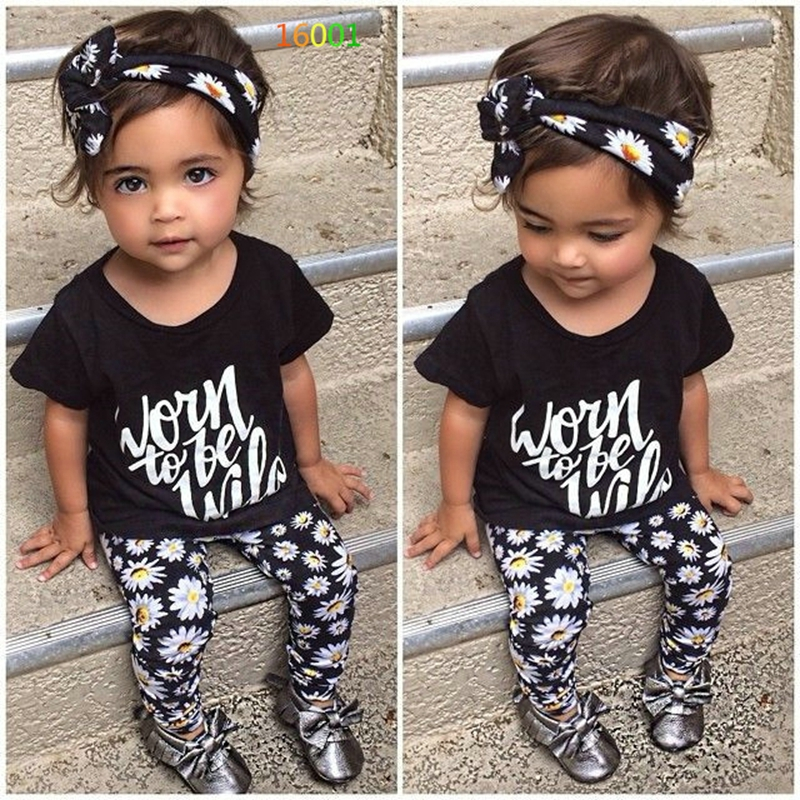 baby girl clothing set summer 3pcs short sleeve letter t-shirt top+flower print pants+floral Hair band kids girls outfits(China (Mainland))
