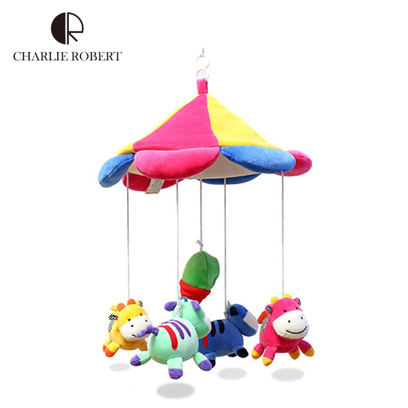 Brand Multicolor educational baby toy mobile in cot children's toys rattles stroller bed hanging baby bed music kids toy HK618(China (Mainland))