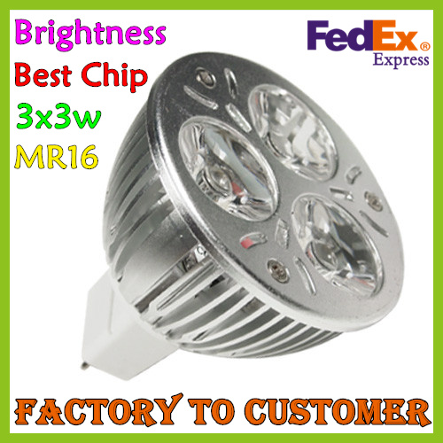 Free Shipping CE & ROHS MR16 3x3W LED Light Bulb Lamp Spotlight Downlight LED Lighting Good Quality(China (Mainland))