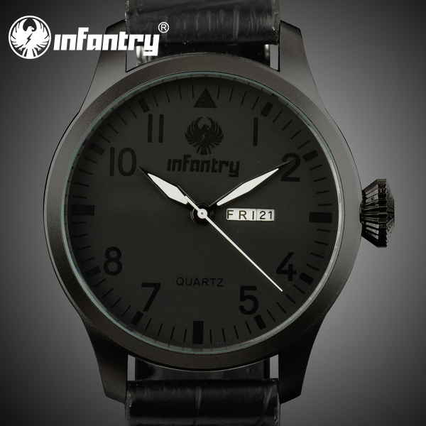 INFANTRY Army All Black Fashion Leather Band Men Date Day Hour Quartz Wristwatch Leisure Style Dress Wristwatch(Hong Kong)
