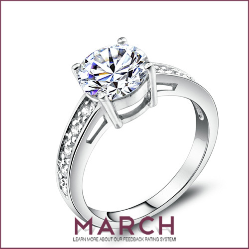 March Acme costly ring of women Swiss drill 925 sterling silver ring of bright female A birthday present(China (Mainland))