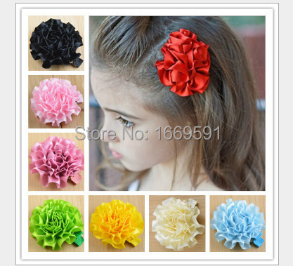 """New coming 2.2"""" Fabric Flowers hair clips Satin Flower Fluffy Ruffled Cloth Flowers infant hair clip 20 color can mix(China (Mainland))"""