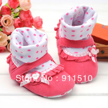 Wholesale 6pcs/lot Pink Dot and Flower bowknot baby shoes firstwalker Cotton toddler sneakers shoes FREE SHIPPING(China (Mainland))