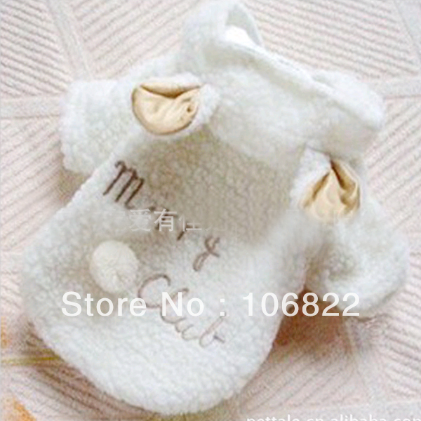 Pet Puppy Dog Clothes Cute White Sheep Warm Hoodie Coat Apparel XS/S /M /L /XL LX0076(China (Mainland))