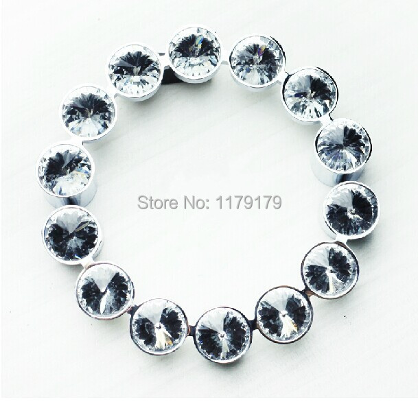 96mm crystal handles glass kichen cabinet pulls shiny silver zinc alloy drawer dresser wardrobe furniture handles pulls knobs