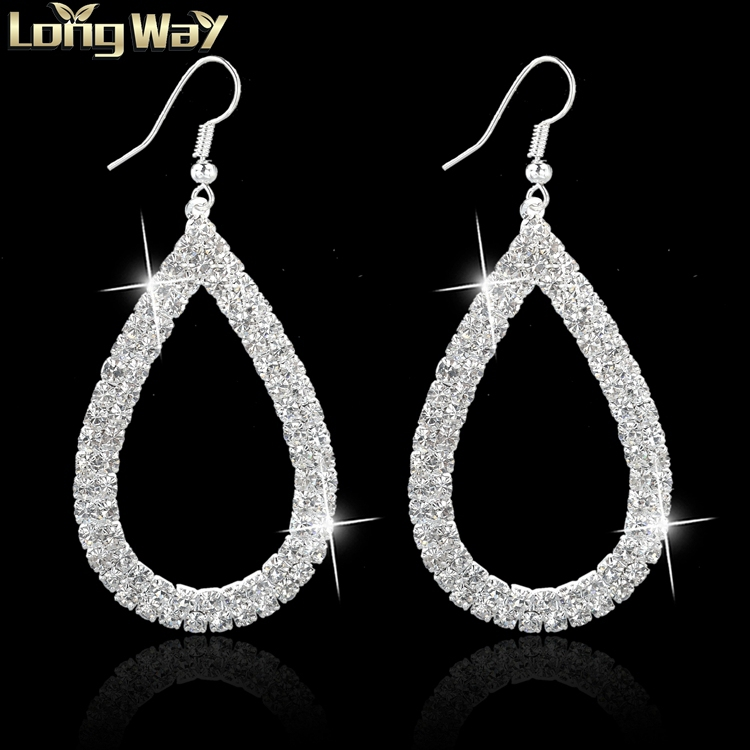 Design Water Drop Dangle Earring Gold Plated SWA Element Austrian Crystal Earrings Fashion Wedding Earrings For Women SER140041(China (Mainland))