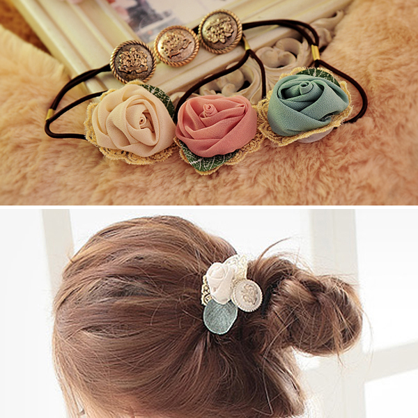 P9388 New Arrival Fashion Hair Ornaments for Women Floral Rose Design Hair Bands Tulle Flower with Rope 167432(China (Mainland))