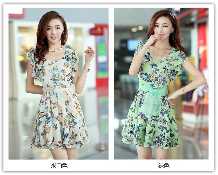 2014 Two Color Korean Slim Fit Chiffon Short Women Summer Dress Belt - yubin zhan's store