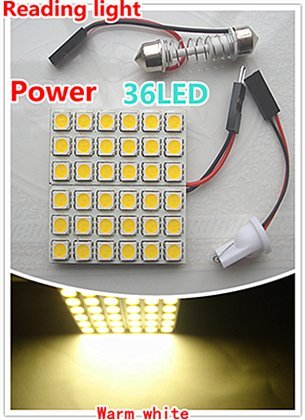 2 x caar 36SMD 6W high power led reading lights, super brightness warm white and white compartment lights, dome lights