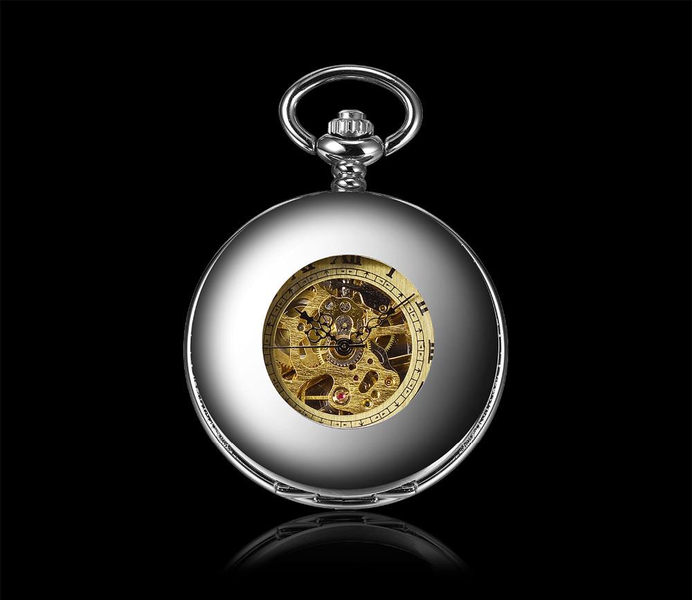 Античная Механические Карманные Fob Часы Мужчин Серебро Черный 2 шт./компл. Мода Старинные Часы Часы С Цепи Мужские Подарок Новый