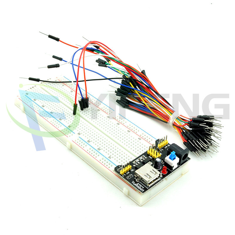 !!! 1SET,3.3V/5V MB102 Breadboard power module+MB-102 830 points Solderless Prototype Bread board kit +65 Flexible jumper wires
