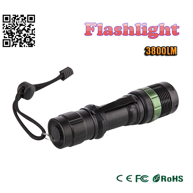 zk90 3800 Lumen Zoomable XM-L Q5 LED Flashlight Torch Zoom Lamp Light Black led torch high light(China (Mainland))