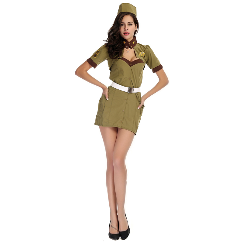 2015 Top Women Dark Green American Spy Costumes / Halloween Cosplay Colonel Policewoman Uniforms Sexy Products For Adult Female(China (Mainland))
