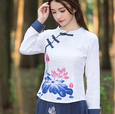 National Style Hand Drawing Lotus Retro Slim Tops Women Mandarin Collar Long Sleeve Tees Lady Plus Size Cotton Linen T-shirt(China (Mainland))
