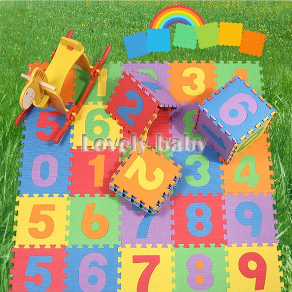 Safety 10pcs Baby Children Kid's Soft Foam Numbers Puzzle Jigsaw Play Mat Pad With Number (0-9) B26(China (Mainland))