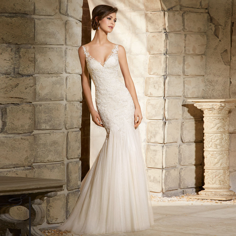 Aliexpress Buy New Arrival Lace Tulle Girls V Neck Mermaid Wedding Dresses Vestidos Gown