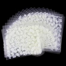 24 Pcs/Lot Beauty White Different Design Glitter 3D Nail Stikcers Diy Nail Art Decorations Tools For Manicure Nails JH165(China (Mainland))