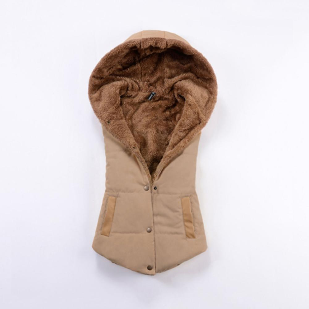 2015 Good Quality Women Warm Cotton Hooded Vest Women Winter Coat Warm Coral Fleece Vest Fashion Outerwear Colete Feminino(China (Mainland))