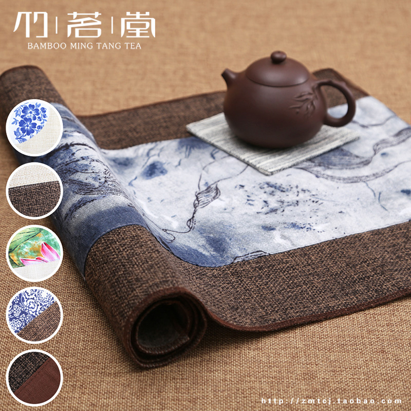 Chinese ink tea Zen tea cotton denim fabric mat tea tea tea tea bamboo curtain cushion Linen Tablecloth<br><br>Aliexpress