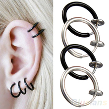 Clip on Hoop Boby Nose Lip Ear Piercing  Earrings Punk Goth Septum for Men 02IE 2YM1(China (Mainland))