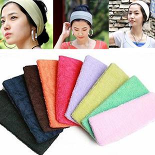 freeshipping Candy colors Motion Yoga headband Plate hair Wide headband towel Sweat wash cloth turban headgear(China (Mainland))