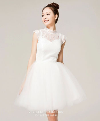 Free shipping! women high-neck sexy lace top tulle skirt party dress girl graduation dress cheap homecoming dress prom dress 002(China (Mainland))