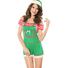 New Sexy Green Women christmas Lingerie santa costume Off The Shoulder Fantasy Sensual Womens D1613A0.3