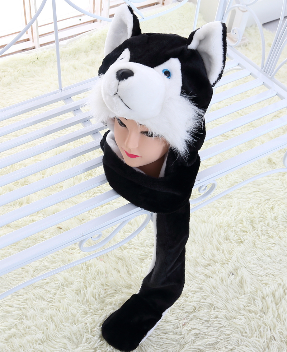 Suday Girl Black Wolf Cute Plush Animal Hat with Paw for Kids and Teenagers Free Shipping(China (Mainland))