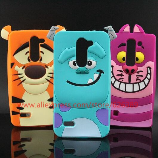 For LG L Bello Case Cute Cartoon Sulley Tiger Cheshire Cat Soft Rubber Mobile Phone Cases Cover For LG L Bello D331 D335 D337(China (Mainland))